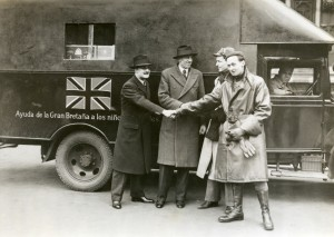 Barton and Three British Truck Drivers Volunteering for Duty in Spain